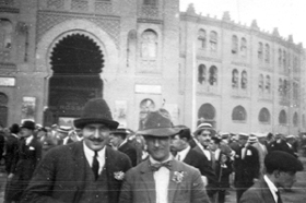 Hemingway (left) poses at a corrida (bullfighting stadium) in Ronda, Spain, in summer 1923. (Ernest Hemingway Photograph Collection, Kennedy Library)