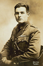 Hemingway posed for this 1918 portrait in Milan, Italy. (Ernest Hemingway Photograph Collection, Kennedy Library)